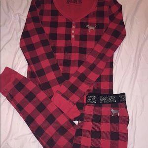 Victoria's Secret PINK plaid/flannel pajama set L